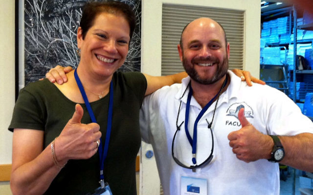 Rabbis Amy Small and Douglas Sagal in July at the Shalom Hartman Institute in Jerusalem. Photo courtesy Rabbi Amy Small