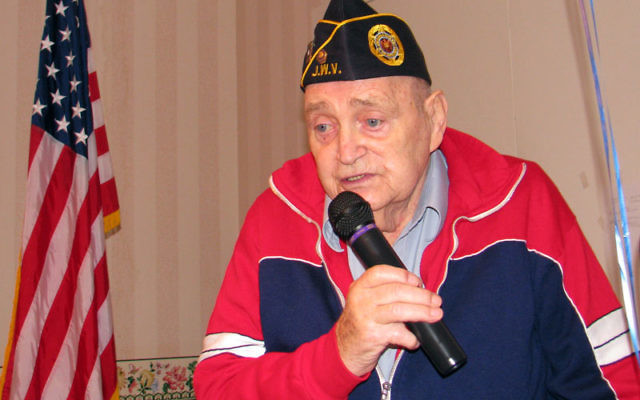Seymour Pine speaks to Lester Senior Housing Community residents last Veterans Day. Photo by Robert Wiener