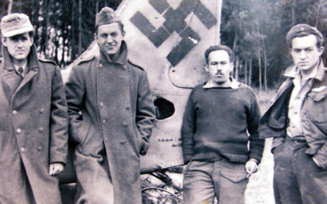 Louis Loevsky, second from right, a lieutenant from Lyndhurst who was awarded the Distinguished Flying Cross, poses with U.S. Army buddies in April 1945. The picture, taken shortly after the soldiers' release from a prisoner of war camp in Moosberg,