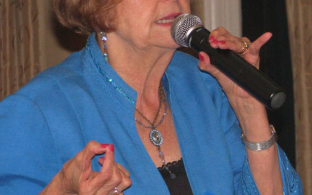 Holocaust survivor Tova Friedman details her narrow escapes from the Nazis in a speech before the Unity Club in Maplewood. Photo by Robert Wiener