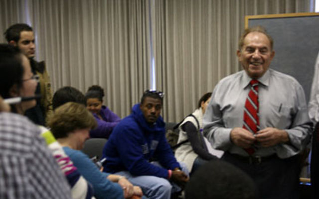 Maurice Siidmarc tells journalism students at Montclair State University how his name is a commemoration of his lost relatives.