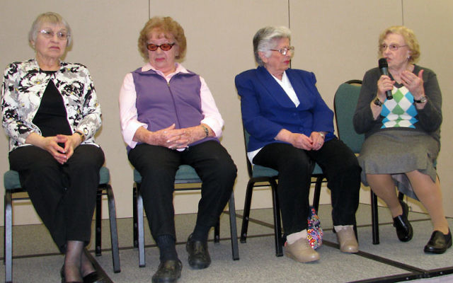 "Four women who met and married their husbands soon after surviving the Nazi Holocaust — from left, Gina Lanceter, Jean Gluck, Toby Knobel Fluek, and Malvina Lefkowits — discussed their ""displaced weddings"" Feb. 23 on the Aidekman c"