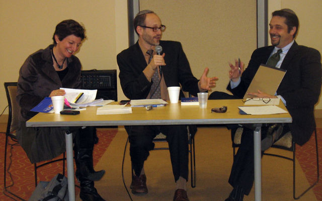 Taking part in a discussion of Radical Judaism by Rabbi Arthur Green on March 3 are three rabbis of three different denominations, from left, Francine Roston, Elliott Tepperman, and Matthew Gewirtz. Photos by Johanna Ginsberg