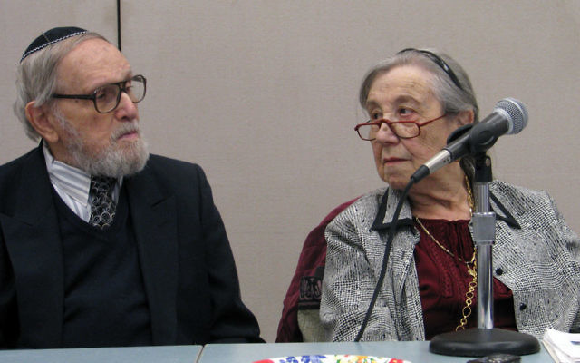 UIke Sommer and her husband, Julius, describe their survival under Nazi occupation of their Ukrainian village at a Lunch and Learn session of the Holocaust Council of MetroWest.