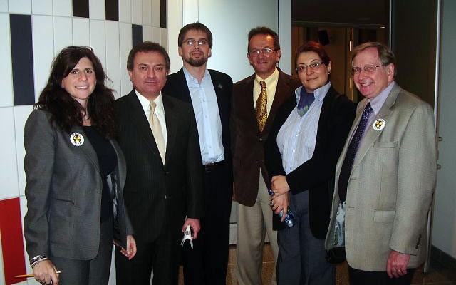 At the Kean University program Focus on Iran, from left, organizer Melanie Gorelick joins speakers Dr. Siamack Shojai, David Ibsen, Jim Daniels, and Banafsheh Zand-Bonazzi and host Prof. Hank Kaplowitz. Photo by Elaine Durbach