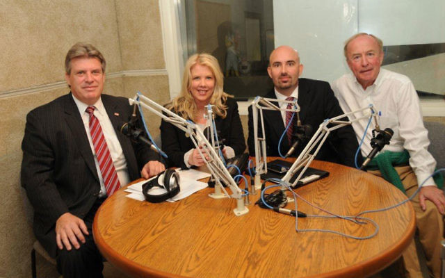 Rep. Rodney Frelinghuysen (R-Dist. 11), right, joins Democratic challenger Douglas Herbert, left, host Julie Briggs, and Libertarian Party candidate James Gawron for an Oct. 16 candidates' debate in the Cedar Knolls studio of radio station WMTR-AM