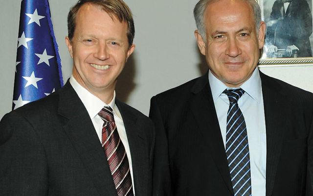 Rep. John Adler, left, with Prime Minister Benjamin Netanyahu during the Democratic congressional delegation's visit to Israel, August 2009.