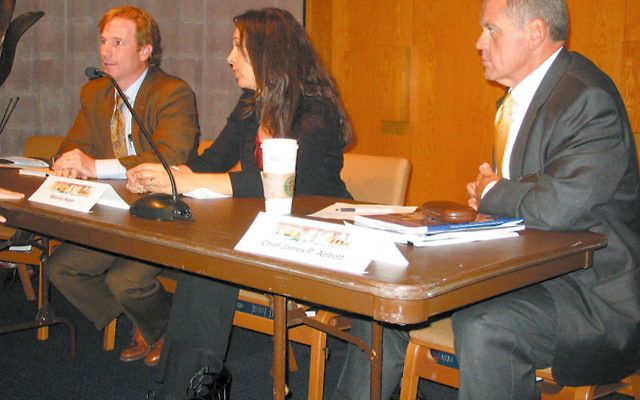 At an Oct. 3 forum on immigration sponsored by the American Jewish Committee, panelists were, from left, immigration lawyer Ryan Stark Lillienthal, Melanie Nezer of the Hebrew Immigrant Aid Society, and West Orange Chief of Police James P. Abbott. Photo