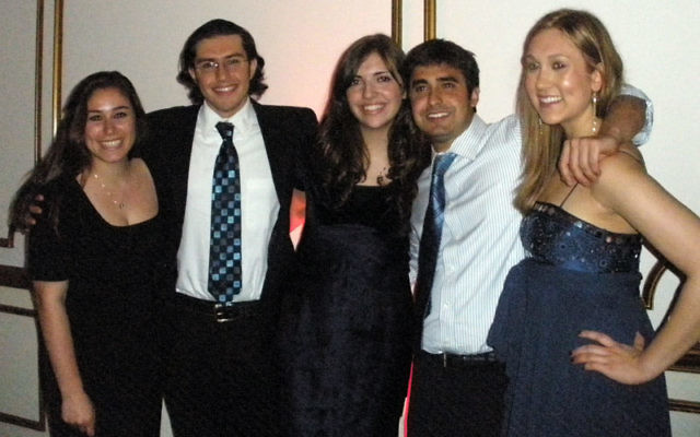 Rising Star students honored at the Rutgers Hillel gala were, from left, Rachel Hodes, Sam Weiner, Lauren Glassman, Mitchell Leff, and Julia Selznick.