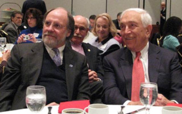 Gov. Jon Corzine, left, joins Sen. Frank Lautenberg at a breakfast meeting of the National Jewish Democratic Council in New Brunswick before the 2008 presidential election.