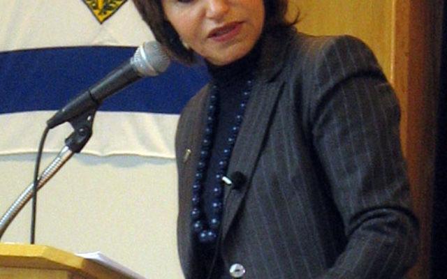 Knesset member Dalia Itzik addressed the student body at the Rae Kushner Yeshiva High School in Livingston on Feb. 14. Photo courtesy Israel Bonds New Jersey