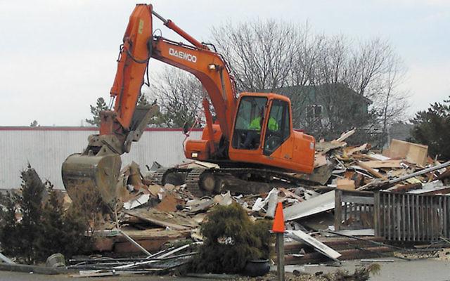 The bulldozers razed the old Jewish Community Center of Long Beach Island on Feb. 28.