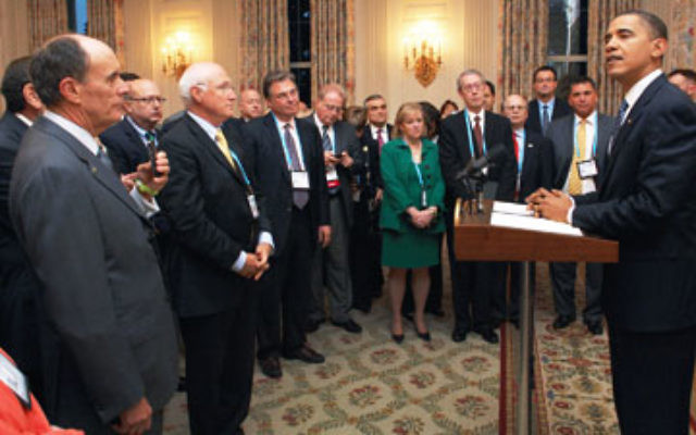 Jewish federation leaders listen to President Obama at a Nov. 9 reception at the White House; Max Kleinman, executive vice president of United Jewish Communities of MetroWest NJ, is third from right.