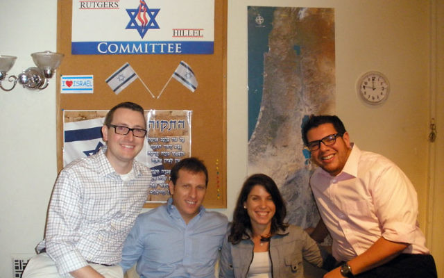 The four new staff members at Rutgers Hillel are, from left, Rabbi Heath Watenmaker, Tzvi Raviv, Lihi Rothschild, and Greg Yellin. Photo by Debra Rubin