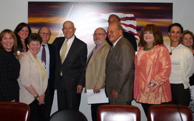 Leaders of New Jersey's Jewish community meeting with Sen. Frank Lautenberg, seventh from left, before his meeting with President Obama are, from left, Jacob Toporek, executive director of the NJ State Association of Jewish Federations; Howard Cha