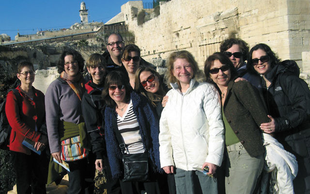 Members of Golda Och Academy's first teachers' mission to Israel included, from left, head of school Dr. Joyce Raynor, Karen Ulric, Rabbi Paula Mack Drill, Michael Newman, Michelle Resnick, Paula Spack, Gena Rosenberg, Rebecca Kurson, upper sc