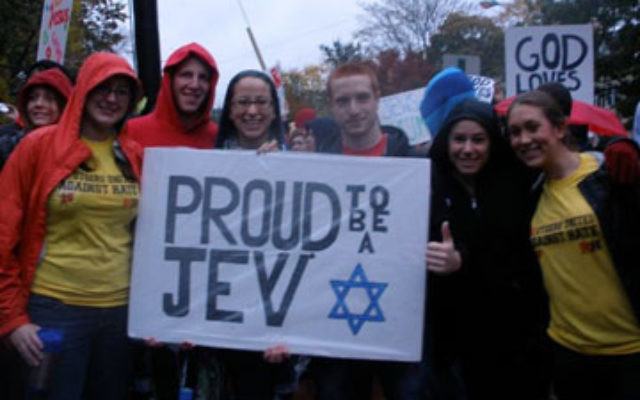 Jewish students protest against the Westboro Baptist Church at an Oct. 28 counter-demonstration outside Rutgers Hillel.