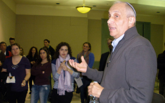 Rabbi Avi Weiss discusses his pluralistic approach with Rutgers students. Photos by Debra Rubin
