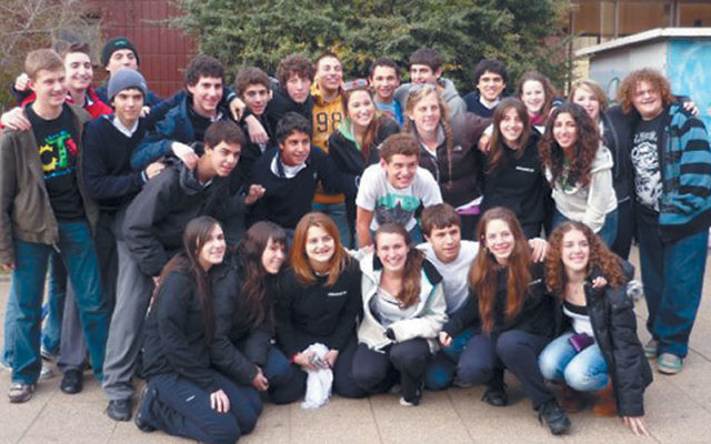 Students from Solomon Schechter Day School of Essex and Union with their Chilean friends in front of Instituto Hebreo in Santiago, August 2009.