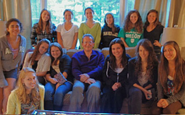 Jim Daniels, seated, center, gave a talk about Iran to members of the Teen Advocacy Program of the NCJW Essex County Section.