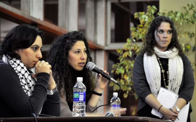 At the Rutgers Hillel-sponsored event on the campus in New Brunswick on Feb. 14 are, from left, Roza Helou of OneVoice Palestine in Ramallah, Dana Sender of OneVoice Israel in Tel Aviv, and Rachel Steinberg of OneVoice U.S. Photo courtesy OneVoice