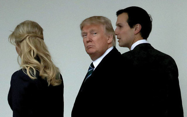 President Donald Trump walks in March along the West Wing colonnade flanked by his daughter Ivanka Trump and his son-in-law and senior advisor Jared Kushner. Photo by Chip Somodevilla/Getty Images