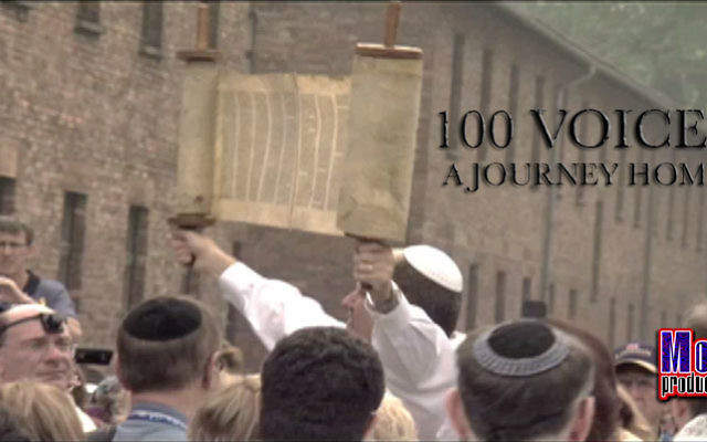 Members of the Cantors Assembly conducted a morning prayer service at Auschwitz during their trip to Poland documented in 100 Voices: A Journey Home. Photo courtesy of Mod Three Productions