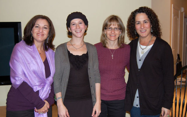 """Guest speaker Sara Wolkenfeld, second from left, at """"Jewish Women and Miracles"""" with Princeton Tikvat Ha'atid Hadassah leaders, from left, co-vice president for education Amy Solomon, co-president Laura Brandspiegel, and host Emily Jos"""