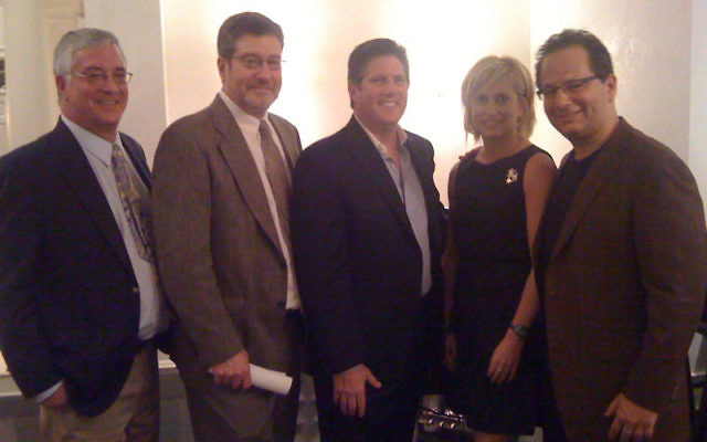 With Jewish Council for Public Affairs leader Martin J. Raffel, second from left, at the May 1 Major Gifts Event of the Jewish Federation of Princeton Mercer Bucks, are, from left, federation executive director Andrew Frank, federation campaign vice-presi