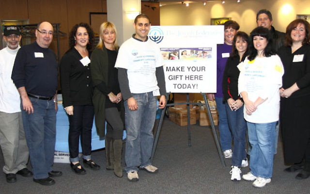 Lay leaders and staff who greeted visitors at Super Sunday included, from left, Jewish Community Campus and Jewish Community Center Princeton Mercer Bucks executive assistant Pat Ficarotta; center president and past federation president Don Leibowitz; c