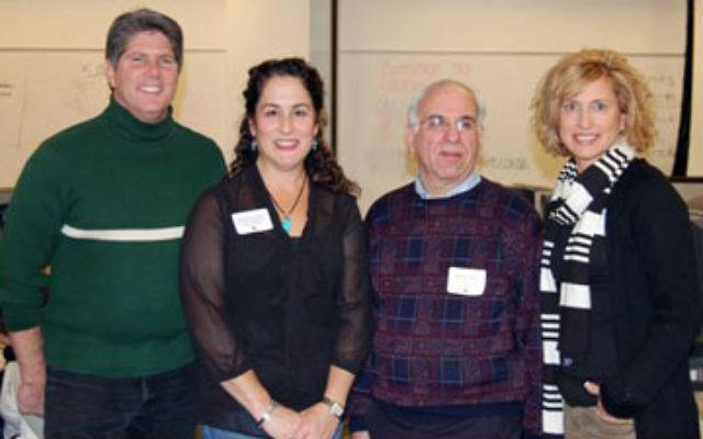 At last year's United Jewish Federation of Princeton Mercer Bucks Super Sunday, are, from left, campaign vice president Mark Merkovitz, vice president of community relations and allocations Emily Josephson, immediate past president Daniel F. Brent,