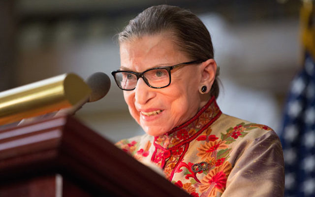 U.S. Supreme Court Justice Ruth Bader Ginsburg speaking at an annual Women's History Month reception hosted by House Minority Leader Nancy Pelosi in the U.S. Capitol building in Washington, D.C., March 18, 2015. (Allison Shelley/Getty Images)