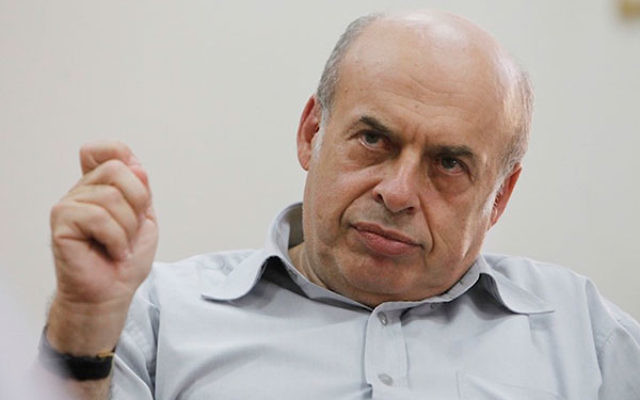 Natan Sharansky, the chairman of the Jewish Agency for Israel, speaking to the media at his office in Jerusalem, Sept. 12, 2013. (Miriam Alster/Flash90)