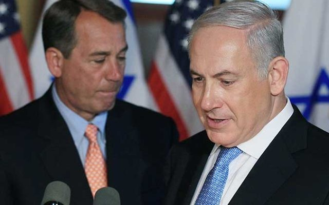 Israeli Prime Minister Benjamin Netanyahu, right, and House Speaker John Boehner (R-OH) address the media at the U.S Capitol on May 24, 2011 in Washington, DC. Netanyahu had earlier delivered a speech to a joint meeting of Congress. (Mark Wilson/Getty Ima