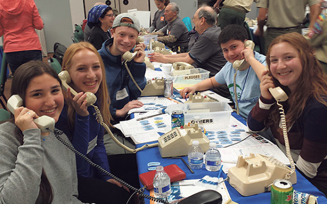 Hoping to bring in the dollars at the Nov. 22 phonathon in Whippany were high school students, from left, Talia Ramer, Veronica Slater, Ben Rogovin, Same Russ, and Shana Slater.