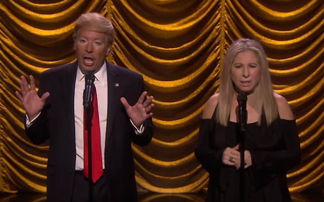 """Barbra Streisand and Jimmy Fallon on the """"Tonight Show."""" (Screenshot from YouTube)"""
