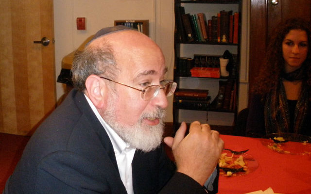 Noted author Rabbi Joseph Telushkin joins student and lay leaders and staff for a dinner discussion before an appearance for Rutgers Hillel. Photos by Debra Rubin