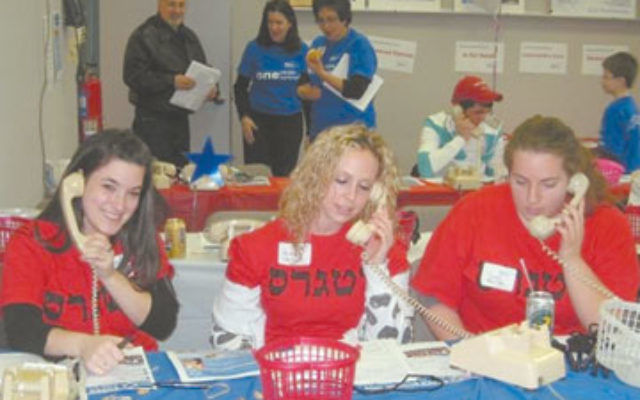Students from Rutgers Hillel make phone calls at the Jewish Federation of Greater Middlesex County's 2008 Super Sunday. This year, the fund-raiser will be held Nov. 22.