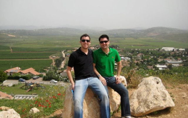 The Block brothers — Jourdan, left, and Bradley — on the border with Syria during the Start-Up Nation mission to Israel, where they met with top business leaders and entrepreneurs. Photos courtesy Bradley Block