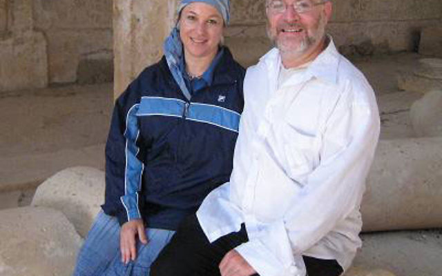 Itamar Mayor Moshe Goldsmith, shown in Israel with his wife, Leah, spoke in Highland Park and Edison about the March 11 murder of the Fogel family by terrorists. Photo courtesy Friends of Itamar