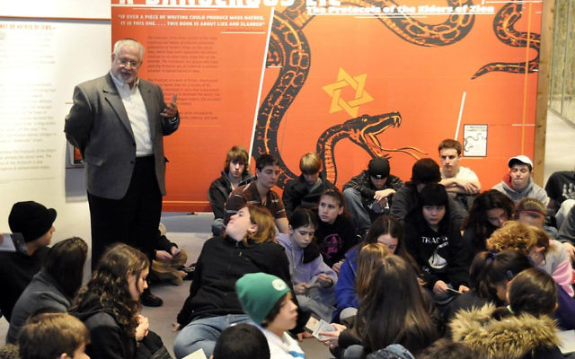 Rabbi Eric Milgrim of Temple B'nai Shalom addresses students from St. Bartholomew's Catholic Church and his synagogue during their trip to the U.S. Holocaust Memorial Museum.