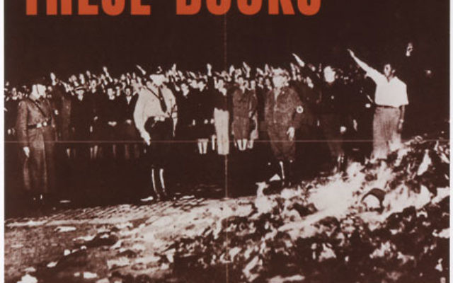 """An Office of War Information poster used the book burnings to expose """"the nature of the enemy."""" Photo courtesy the U.S. Holocaust Memorial Museum/FDR Library"""