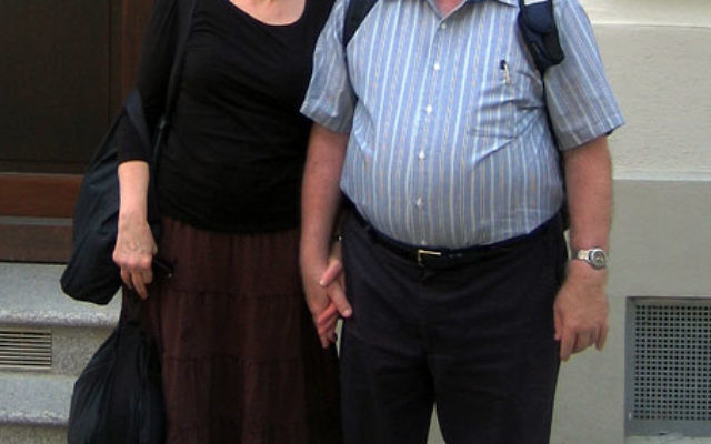 Rabbi Bernhard Rosenberg with his wife, Charlene, outside the Regensburg, Germany, apartment building in which he and his parents lived from 1948 to 1950. Photo courtesy Rabbi Bernhard and Charlene Rosenberg
