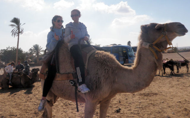 Lauren Wink, right, and a Birthright companion ride a camel in the desert at the Bedouin tents.