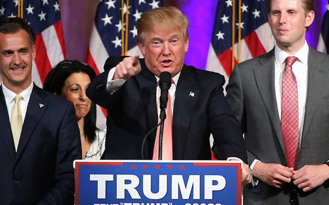 Donald Trump speaking at a primary night news conference in Palm Beach, Fla., March 15, 2016.
