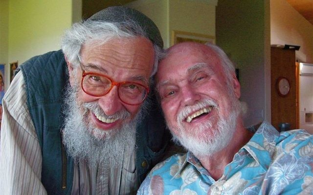 Rabbi Zalman Schachter-Shalomi, left, was a bridge between the philosophies of his hasidic teachers and the New Age ideas ofspiritual teachers likeRam Dass, right (Photo by Joan Halifax'Wikimedia Commons)