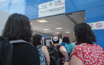 Rabbis and Jewish faith leaders cross the border into Tijuana, Mexico, last week to visit shelters where migrants are waiting as they seek asylum.  Photo courtesy of HIAS.