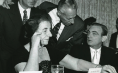 Golda Meir at United Jewish Appeal of Greater New York Inaugural Din- ner in 1959. WIKIMEDIA COMMONS