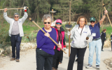 Canadian American Active Retirees in Israel participants working the land, in connection with JNF, in the Horshim Forest in central Israel. COURTESY OF CAARI