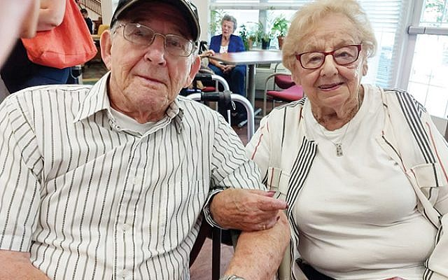 Sandy and Harriett Kransky celebrated 75 years of marriage at a party thrown in their honor at the Stein Residence for Assisted Living in Somerset. Photo by Debra Rubin